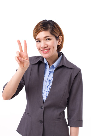 business woman pointing up two fingers, v sign Stock Photo