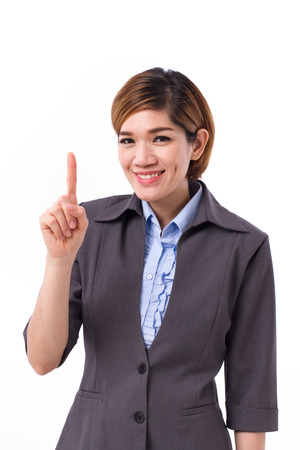one finger: business woman pointing up one finger