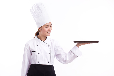 food tray: happy, smiling, positive female chef pointing up blank food tray