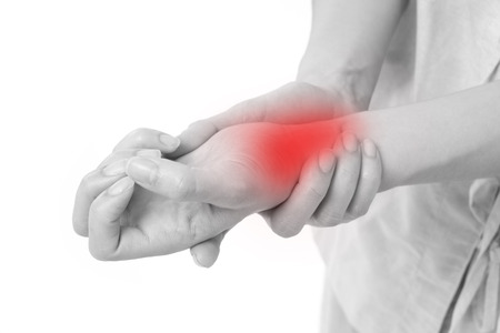 gout: woman suffering from wrist joint pain, arthritis, gout