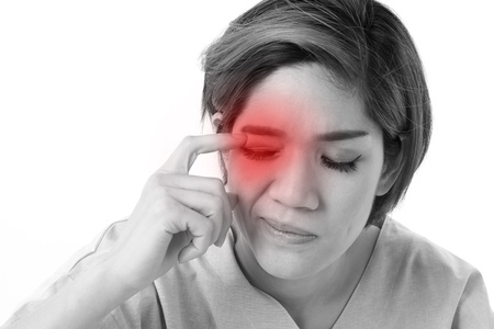 woman suffering from eye irritation, inflammation