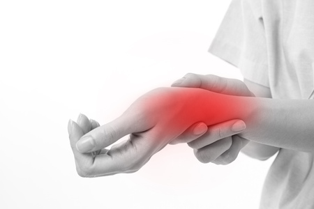 woman suffering from wrist joint pain, arthritis, gout