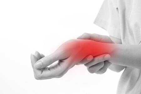 손목 관절 통증, 관절염, 통풍을 앓고있는 여자 스톡 콘텐츠