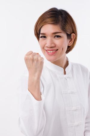 defensa personal: feliz, fuerte, mujer del kungfu confianza, defensa personal y el concepto de las artes marciales chinas