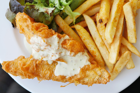 british foods: fish and chips, top view
