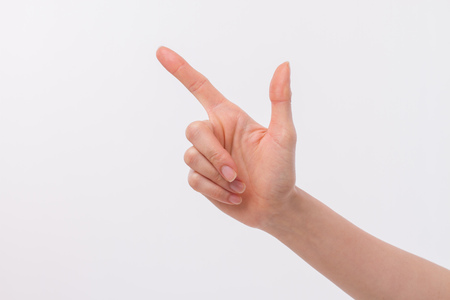 sideway: hand with finger pointing up, studio isolated