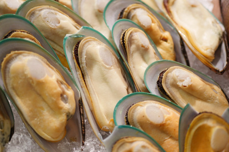 fresh mussel delicious seafood tray Stock Photo