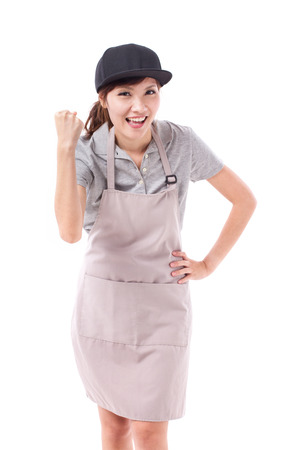 exited, happy, smiling, successful, strong woman worker studio isolated Stock Photo