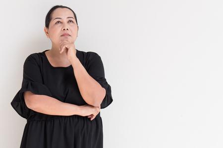 thinking woman: Thoughtful woman thinking.
