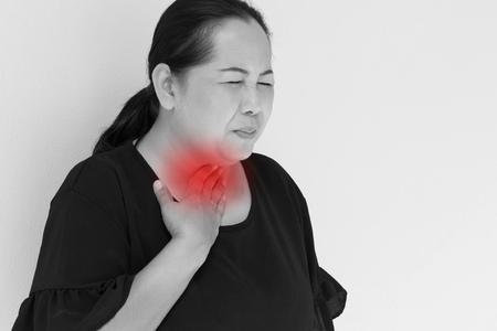 phlegm: sick woman suffering from sore throat sickness Stock Photo