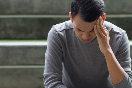 sick man with headache, depression, stress, anxiety, vertigo, hangover, migraine Stock Photo