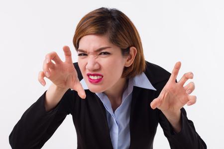 Mujer de negocios enojado listo para luchar Foto de archivo
