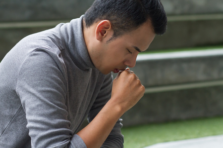 allergic sick asian man coughing Stock Photo - 81030951