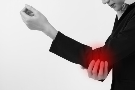 woman suffering from elboe joint pain, injury, arthritis, gout syndrome 스톡 콘텐츠