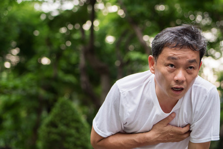 exhausted, panting, cardiac arrest running senior man, outdoor park