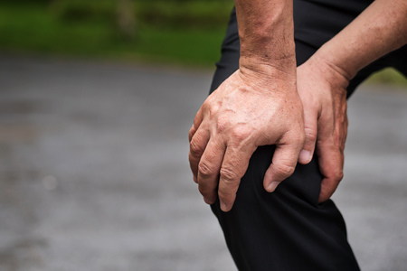 man with knee joint pain, arthritis, inflammation, asian senior or middle age