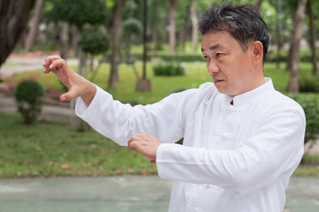 serious old man practicing tiger claw style kungfu or tai chi in the park, healthy lifestyle meditation exercise concept