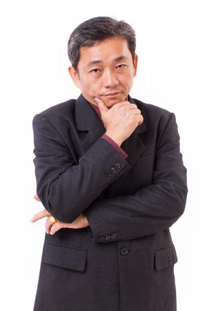 smart senior businessman, lawyer, professional man thinking, planning, showing vision Stock Photo
