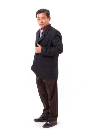 confident, successful senior middle aged businessman crossing arm, studio isolated