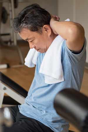 bod: healthy, happy, smiling, positive senior well being asian man working out ab muscle in gym