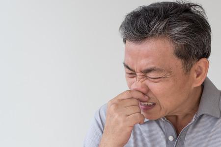 sick old senior man, flu, cold, runny nose