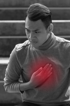esophageal: Sick man suffering from acid reflux, heartburn