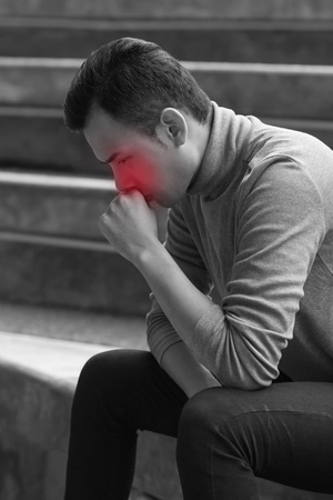 phlegm: allergic sick asian man coughing