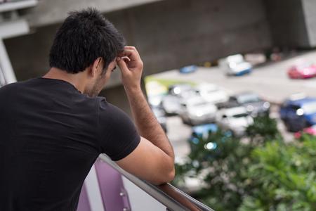 Upset asian man got stuck in heavy traffic jam Reklamní fotografie - 88633923