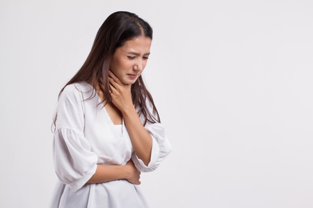 sick asian woman with sore throat, cold, flu