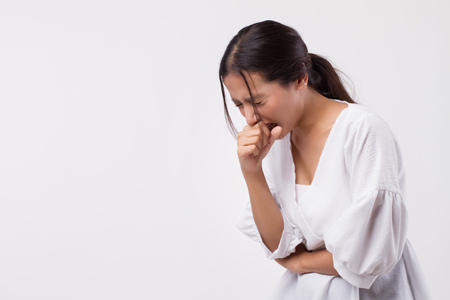 sick asian woman coughing isolated