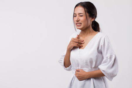 sick stressed woman with acid reflux, gerd symptoms Stockfoto