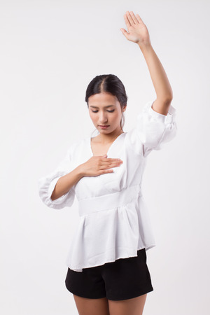 woman checking her breast, breast cancer awareness concept Imagens