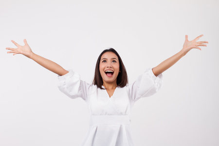 excited asian woman looking up Stock fotó - 89704244