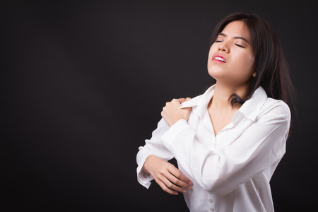 woman with shoulder or neck pain, stiffness, injury Reklamní fotografie