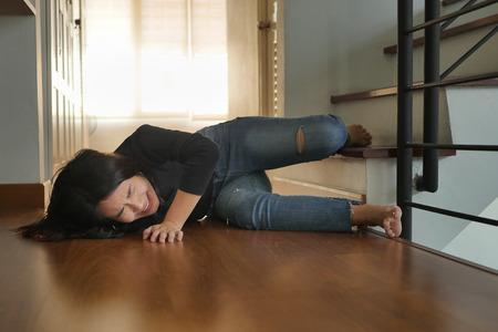 soman falling down, dangerous situation, bad day, injury, insurance concept Reklamní fotografie