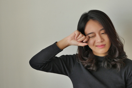 woman with eye pain, allergy, irritation, girl suffering from optical problem concept Stockfoto