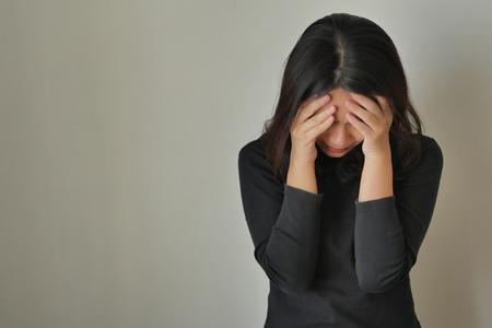 girl face palm gesture, depressed woman Archivio Fotografico