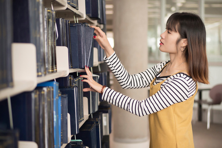 smart woman college student searching books; portrait of focused woman university student studying, researching, reading, finding book or textbook in library; asian young adult woman model Stock Photo