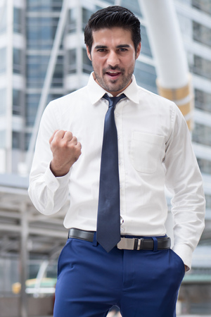 strong asian business man; portrait of Asian, north indian successful, happy, confident businessman, office worker, business executive, boss, manager Stock Photo