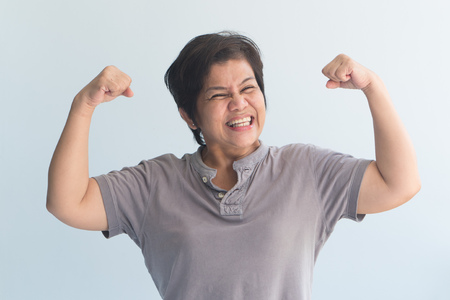 portrait of happy, healthy, strong senior woman with good health Stock Photo