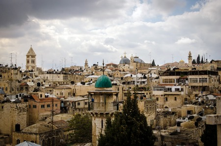 the holy land: From Mount Scopus, Jerusalem view, Holy Land Stock Photo