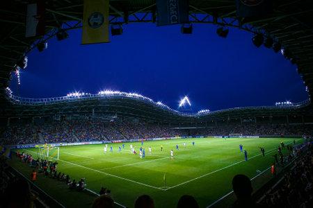 Borisov-Arena stadium in august 2014, Belarus. Corner view of the UEFA Champions League, Football Evening. Editorial