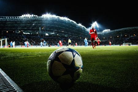 uefa: Borisov, Belarus - OCTOBER  2015. Borisov-Arena: The UEFA Champions League match between Bate and Bayer. Ball close-up