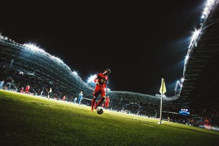 champions league: Borisov, Belarus - OCTOBER  2015. Borisov-Arena: The UEFA Champions League match between Bate Borisov and Bayer. Preparing for coner Editorial