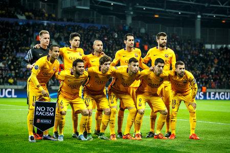 messi: Borisov, Belarus - October 2015. F.C. Barcelona team without Leo Messi, quest form