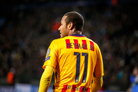 winger: Borisov, Belarus  - Ocober 2015, Neymar in quest form of Barcelona F.C.