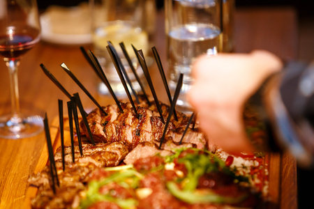 meaty: Close up  Grilled Meaty Main Dish, steak meals on the table in a restaurant