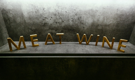 chipboard: meat and wine letters on vlack background