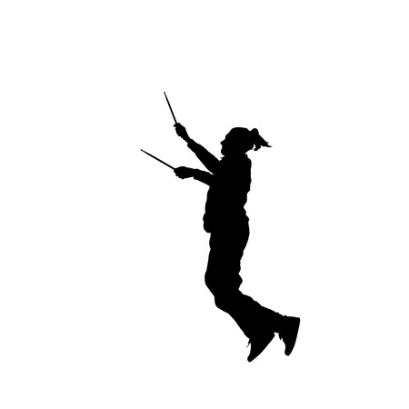 dancer male: Black silhouette of male dancer isolated on white, jump Stock Photo
