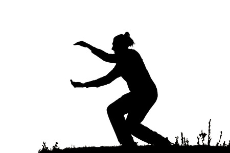 male dancer: Black silhouette of male dancer isolated on white Stock Photo